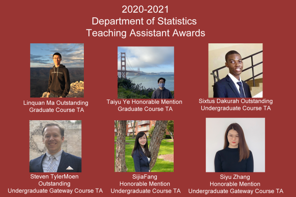 University of Wisconsin Madison Department of Statistics 2020-2021 TA Awards